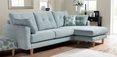 duck egg blue corner sofa - has matching arm chair. For casual living area Duck Egg Blue Sofa, Duck Egg Blue Living Room, New Living Room, Living Room Sofa, Living Room Decor, Small Living, Living Area, Blue Corner Sofas, Corner Sofa Fabric
