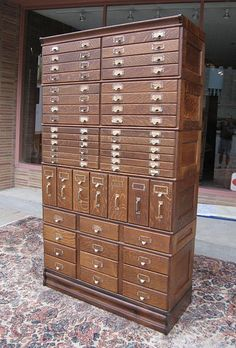 Quartersawn Oak 47 Drawer Stacking File Cabinet Sold