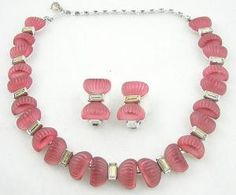 Kramer Pink Bows Necklace Set - Garden Party Collection Vintage Jewelry