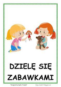 BLOG EDUKACYJNY DLA DZIECI: Kodeks przedszkolaka Learn Polish, Planer, Montessori, Back To School, Kindergarten, Crafts For Kids, Preschool, Family Guy, Classroom