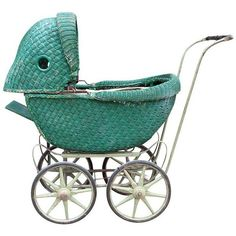 Victorian Style Green Wicker Buggy (1,425 ILS) ❤ liked on Polyvore featuring curiosities
