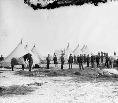 9th Cav camp at Wounded Knee, S.D. :   Black and white members of the Ninth Cavalry  (Buffalo Soldiers) pose in their wall tent camp during the Native American Sioux campaign on Pine Ridge Reservation, South Dakota. Hay has been scattered over the snow-covered ground for horses covered with blankets.  Photographs - Western History