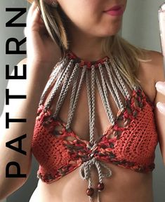 Crochet Pattern The All Strung Out Bralette Pattern. ****** This listing is for an INSTANT DOWNLOAD Crochet Bralette PATTERN PDF, not a finished Bralette********* Crochet Pattern to make Size:Adjustable to Fit any Women Can be made with any worsted weight yarn #4 Patterns are