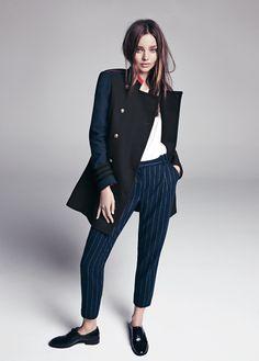 Pantalon de costume en laine, fines rayures