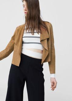 Lapels leather jacket -  Women   MANGO USA