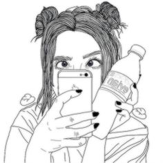 drawings of tumblr girls black and white - Google Search