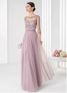 Buy discount Fabulous Tulle & Satin Bateau Neckline Three-quarter Sleeves Floor-length A-line Evening Dresses with Embroidery at Dressilyme.com