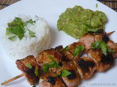 Tandoori-Chicken Spieße mit Reis und Guacamole - Katha-kocht!