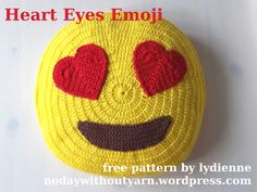 Heart Eyes Emoji Pillow   No Day Without Yarn