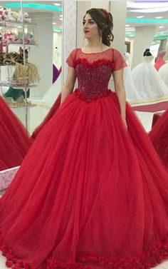 Modest Cap Sleeves Tulle Flower Ball Gown Quinceanera Dresses, Shop plus-sized prom dresses for curvy figures and plus-size party dresses. Ball gowns for prom in plus sizes and short plus-sized prom dresses for Bridal Dresses 2018, Gold Prom Dresses, Red Wedding Dresses, Cheap Prom Dresses, Quinceanera Dresses, Simple Dresses, Bridal Gowns, Gown Wedding, Quinceanera Ideas