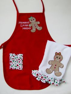 Child's Christmas Apron and Child's gingerbread man by WindaBobbin