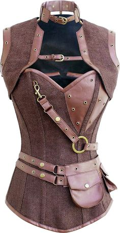 A simple but stylish brown steampunk style corset with decorative chains and zip. This is a versatile garment that could be worn as part of a steampunk outfit, or simply to give any special occasion a dash of neo-Victorian drama. The faux-leather look is Steampunk Cosplay, Steampunk Clothing, Steampunk Fashion, Gothic Steampunk, Victorian Gothic, Gothic Lolita, Gothic Fashion, Steampunk Makeup, Steampunk Bedroom