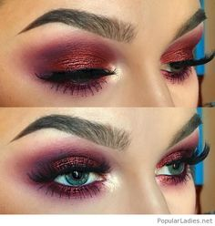 Amazing wine glitter eye makeup for blue eyes