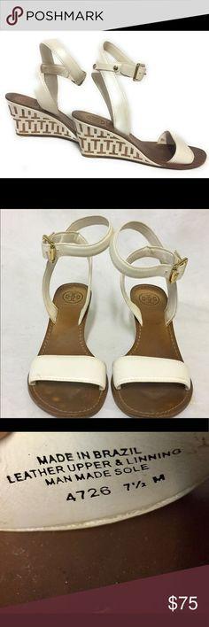 Tory Burch Regan T Cut White Leather Sandals 7.5