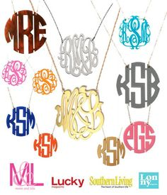 NEW! Monogram necklaces! Comes in over 20 colors of acrylics. We can speical order names, letters, or initials and 3 different sizes!   *coming soon!  www.shopmaterialg...  601-992-4533