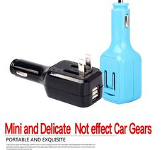 Double Usb Car Charger, 2-IN-1 car charger, wall charger & car charger with UE or US PLUG. 5V 2.1A Unit Price: US$4.00
