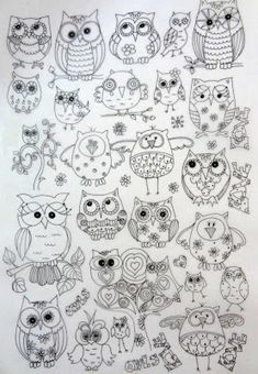 owls to color, trace or stitch