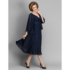 A-line+Mother+of+the+Bride+Dress+-+Dark+Navy+Tea-length+3/4+Length+Sleeve+Chiffon+–+USD+$+99.99