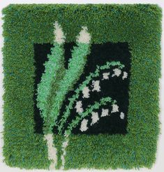 Siirry tuotteeseen Rya Rug, Wool Rug, Retro Room, Woven Wall Hanging, Lily Of The Valley, Punch Needle, Filet Crochet, Textiles, Rugs