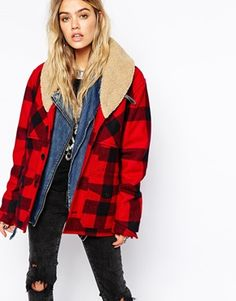 Enlarge Denim & Supply By Ralph Lauren Plaid Coat With Faux Shirling