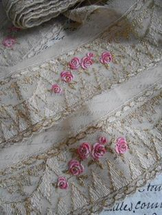 Antique French Organza Ribbon Trim with Roses Gold Wire Weave C1910