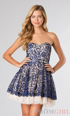 Short Strapless Lace Dress at PromGirl.com i want this to be my dress for this year's homecoming dance. 1 like = 1 vote