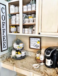 Coffee Station ideas for your morning buzz – Style Of Coffee Bar In Kitchen Coffee Station Kitchen, Coffee Bars In Kitchen, Coffee Bar Home, Home Coffee Stations, New Kitchen, Beverage Stations, Coffee Kitchen Decor, Lemon Kitchen Decor, Kitchen Mats