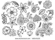 Set of black and white flowers. Page of floral design elements for coloring book