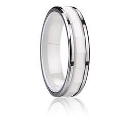 Toda la rabia de bodas de cerámica anillo de bandas + de tungsteno