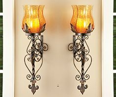 Set of 2 Bronze Elegant Scrollwork Decorative Hurricane Amber Glass Candle Holder Sconce Metal Vintage Style Decorative Home Accent Decoration by KNL Store * You can get additional details at the image link. (This is an affiliate link) Wall Mounted Candle Holders, Wrought Iron Candle Holders, Candle Wall Sconces, Glass Candle Holders, Elegant Home Decor, Luxury Home Decor, Elegant Homes, Small Room Interior, Stylish Interior