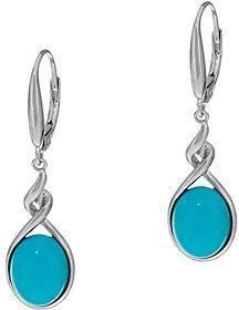 QVC As Is Oval Sleeping Beauty Turquoise Sterling Silver Drop Earrings