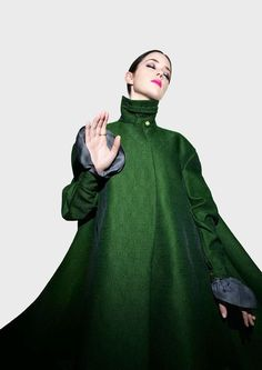 Emily Blunt models a theatrical green coat by Yves Saint Lauren in the fashionable photo shoot for TIME Style & Design Fan Image, Fashion Details, Fashion Design, Green Coat, Green Dress, Emily Blunt, Editorial Fashion, Fashion Shoot, Fashion Photography