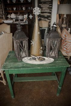Green little table for holiday decor