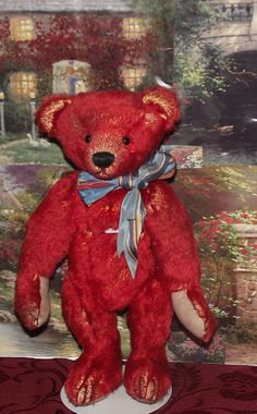 "ANTIQUE VERY RARE RED MOHAIR BEAR 12"" EXCELSIOR STUFFED, FARNELL?? CIRCA 1920's"