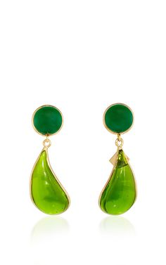 24 K Yellow Gold Plated Dark Jade And Moss Green Bicolor Teardrop Clip Earrings by LOULOU DE LA FALAISE for Preorder on Moda Operandi