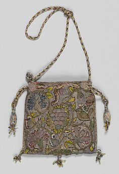 Purse, early 17th century  English  Canvas worked with silk and metal thread, glass beads, spangles; Gobelin, tent, and detached buttonhole stitches    5 1/8 x 5 1/8 in. (13 x 13 cm) excluding tassels and draw cord  Rogers Fund, by exchange, 1929 (29.23.15)