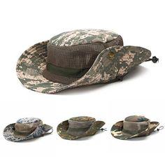Outdoor Wide Brim Camouflage Fisherman Bucket Boonie Hat Anti UV Cap Sanwood
