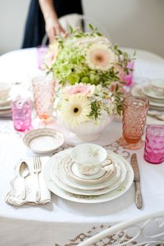 pretty vintage china placesetting.