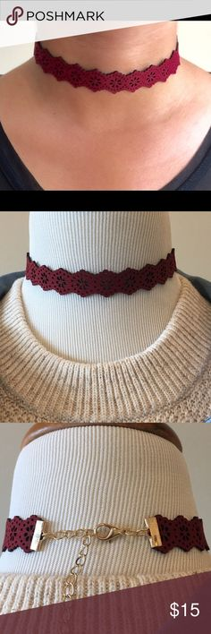 Laser Cut Burgundy Choker Brand new laser cut Burgundy Choker. Nickel and lead free. Adjustable length Bchic Jewelry Necklaces