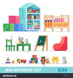 stock-vector-big-detailed-interior-set-children-game-room-toys-children-s-bed-chalk-board-bag-chair-flat-342734432.jpg (1500×1600)