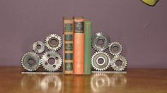 Motorcycle Gear Bookends, Pair. $235.00, via Etsy.