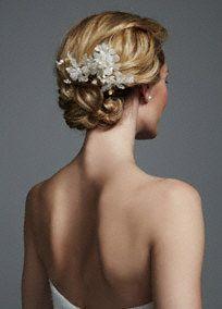 Silk Organza Fresh Water Pearl Comb, Style CTH431 by Twig and Honey #davidsbridal #weddinghair #accessories