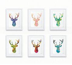 Art Deer, ensemble de 6 tirages - cerf aquarelle peinture, minimaliste, estampes, affiche aquarelle coloré cerf Silhouette - décoration murale, cadeaux