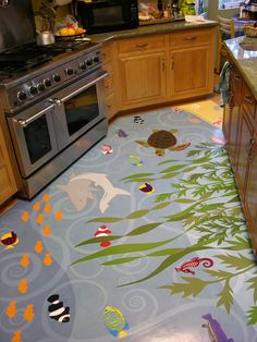 Under the sea... into the kitchen. This is an unlikely kitchen floor mat but conveys just how unique floor mats can be.