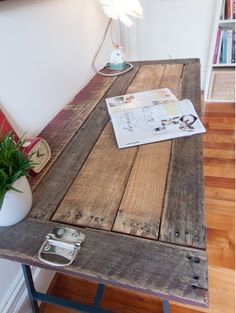 Industrial   Vintage Look Reclaimed Timber Top Trestle Desk Or Table