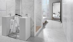"Evoke Blanco | Porcelaine - Porcelain | Fini poli - Polished Finish | 2""x2"" & 15""x30"" & 30""x30"" | $19.99/p.c./sqft (2""x2"") - $8.99/p.c./sqft (15""x30"") - $8.99/p.c./sqft (30""x30"") #White #Blanc #Marbre #Marble #Grey #Gray #Gris #blanco #classic #classique #evoke #15x30 #30x30 #poli #polished #tiles #bathroom #salledebain"