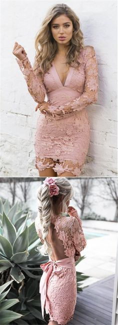 Pink Homecoming Dresses, Sexy Pink Short Dresses, Sexy Long Sleeves Pink Lace Short Bodycon Dress