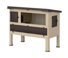 Kunststof konijnenhok met met 1 verdieping. Geschikt om zowel binnen als buiten te plaatsen. De diepe lade zorgt er voor dat uw konijn altijd goed beschut zit.