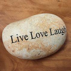 Engraved  Beach Pebble Message Stone - Live Love Laugh