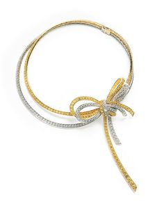 Noeud necklace with yellow sapphires and white diamonds by Van Cleef & Arpels Bow Jewelry, High Jewelry, Jewelry Stores, Diamond Jewelry, Silver Jewelry, Jewelry Design, Silver Rings, Diamond Necklaces, Jewellery